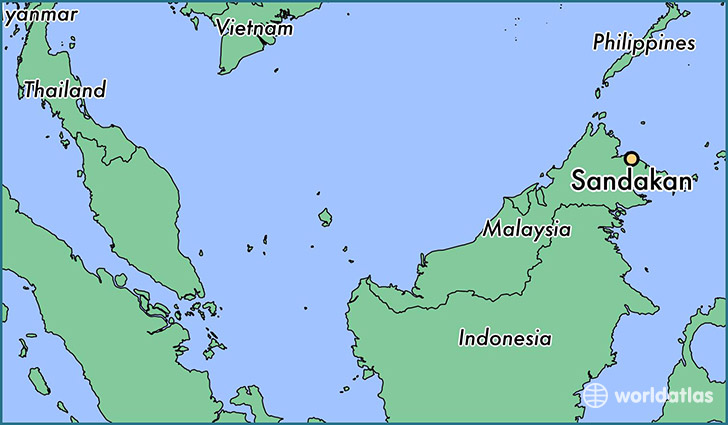 map showing the location of Sandakan