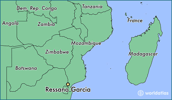 map showing the location of Ressano Garcia