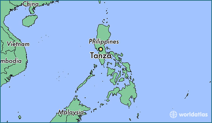 map showing the location of Tanza