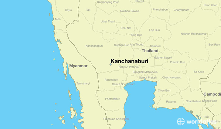 map showing the location of Kanchanaburi