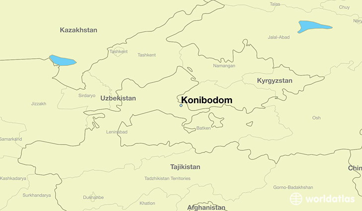 map showing the location of Konibodom