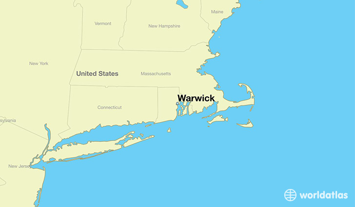 map showing the location of Warwick