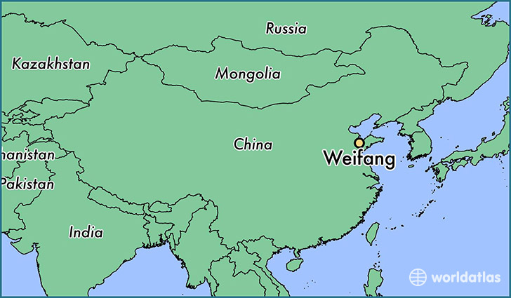 map showing the location of Weifang