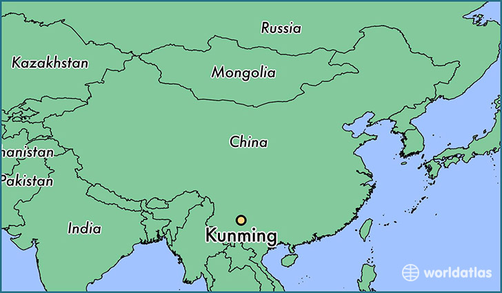map showing the location of Kunming