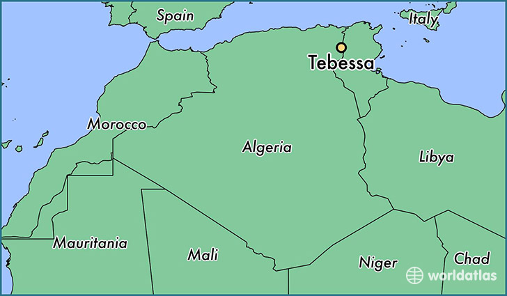 map showing the location of Tebessa