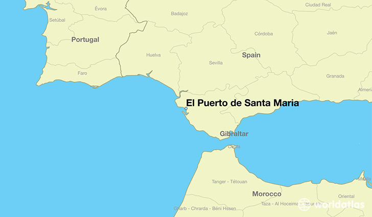 map showing the location of El Puerto de Santa Maria