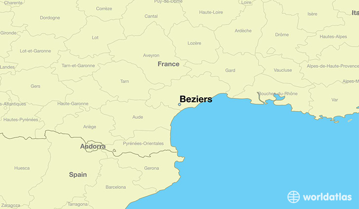 map showing the location of Beziers