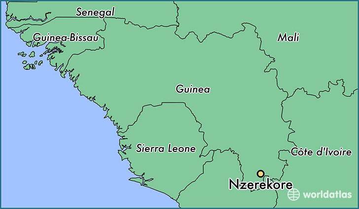 map showing the location of Nzerekore