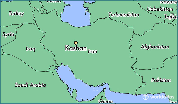 map showing the location of Kashan