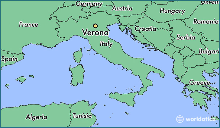 map showing the location of Verona