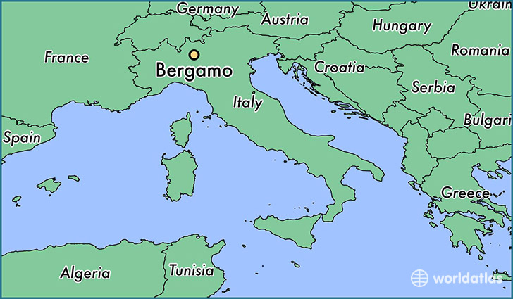 map showing the location of Bergamo