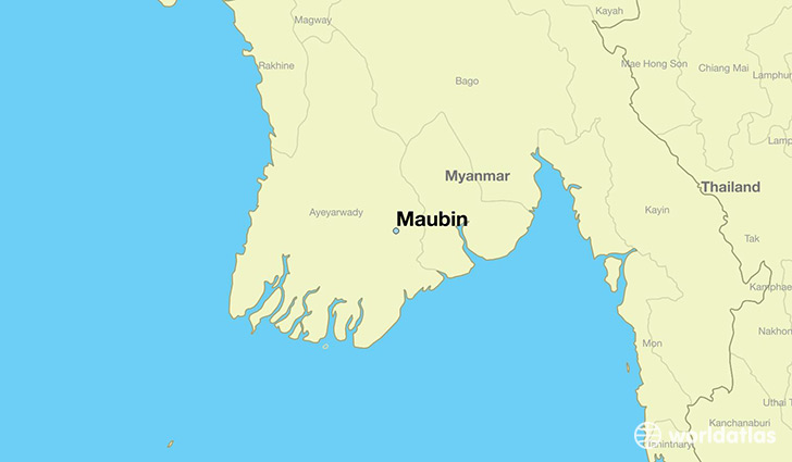 map showing the location of Maubin