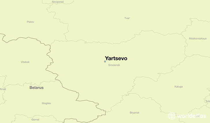 map showing the location of Yartsevo