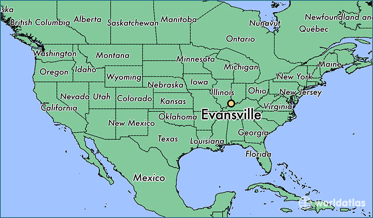 map showing the location of Evansville