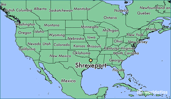 map showing the location of Shreveport
