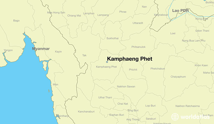 map showing the location of Kamphaeng Phet