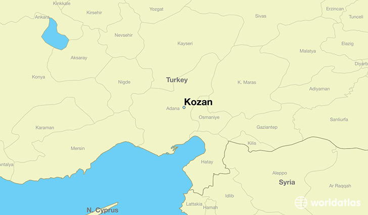 map showing the location of Kozan