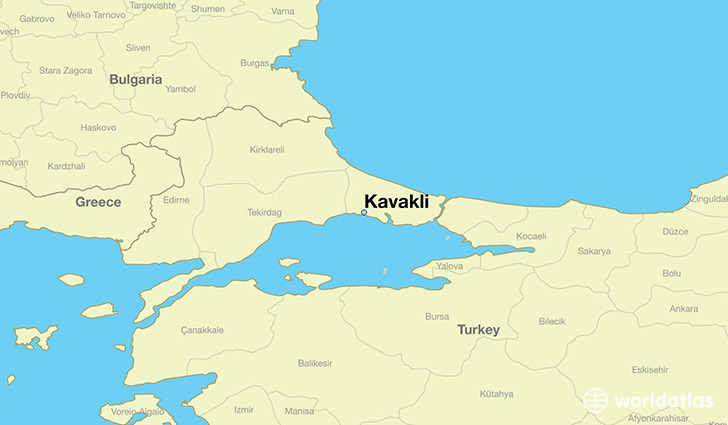 map showing the location of Kavakli