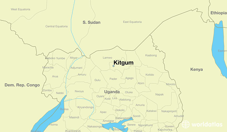 map showing the location of Kitgum