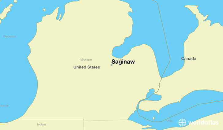 map showing the location of Saginaw