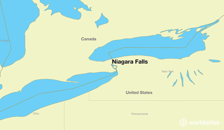 map showing the location of Niagara Falls