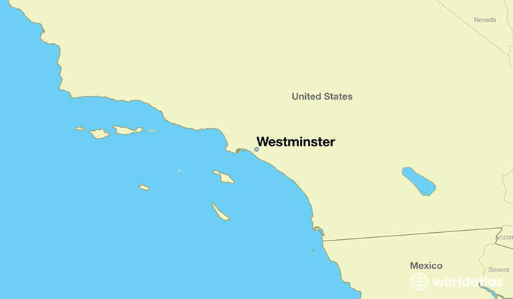 map showing the location of Westminster