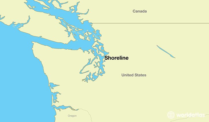 map showing the location of Shoreline