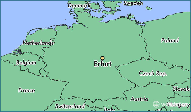 map showing the location of Erfurt