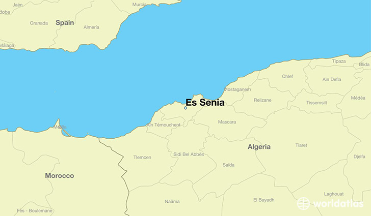 map showing the location of Es Senia