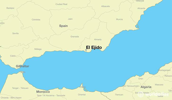 map showing the location of El Ejido