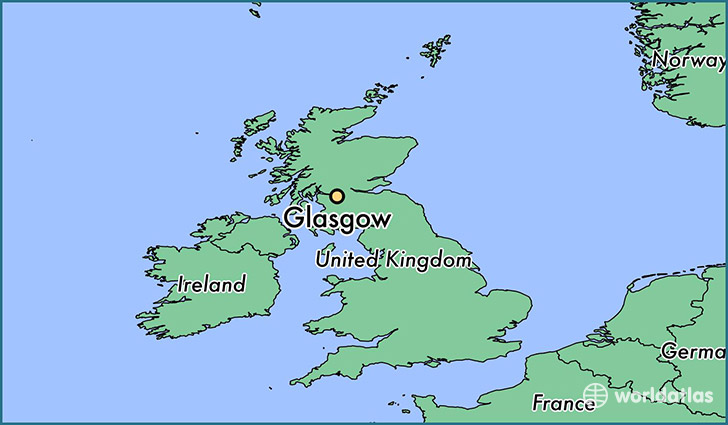 map showing the location of glasgow