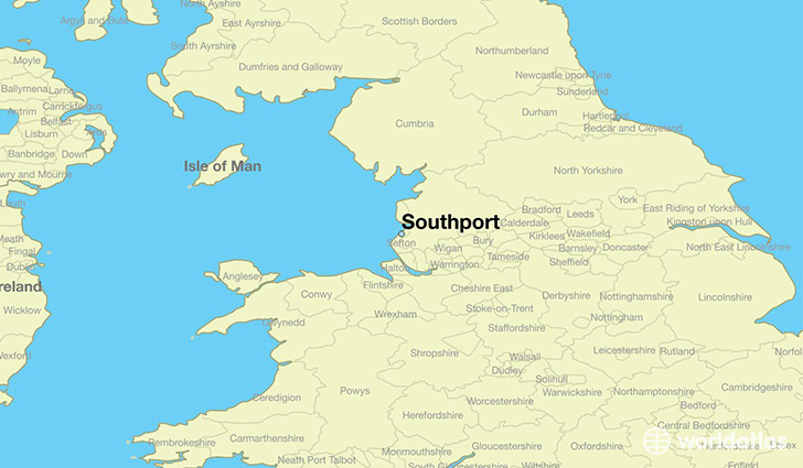 map showing the location of Southport