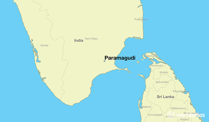 map showing the location of Paramagudi