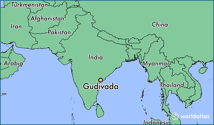 map showing the location of Gudivada