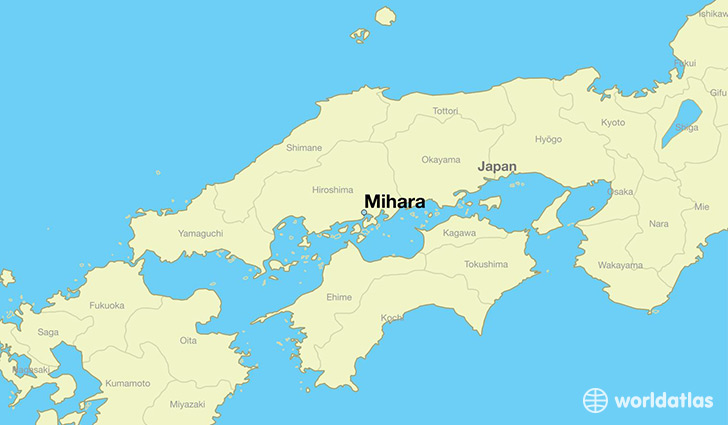 map showing the location of Mihara