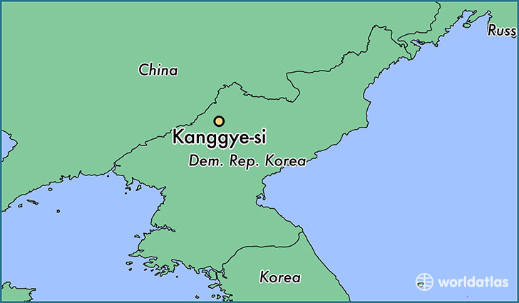 map showing the location of Kanggye-si