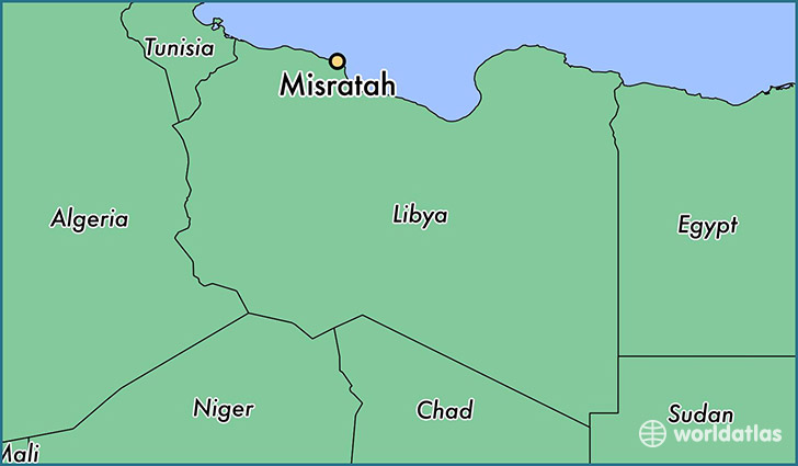 map showing the location of Misratah