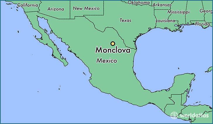 map showing the location of Monclova