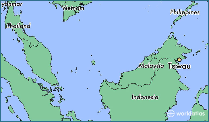 map showing the location of Tawau