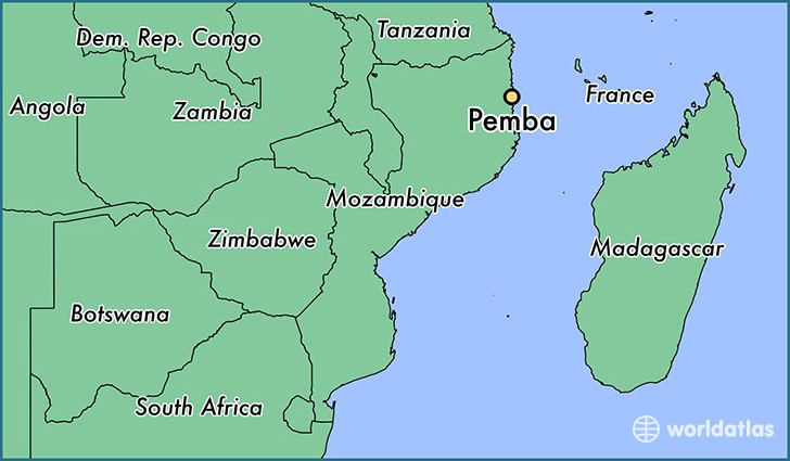 map showing the location of Pemba