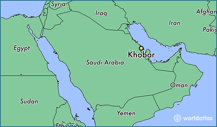 map showing the location of Khobar
