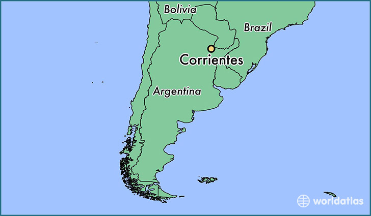 map showing the location of Corrientes