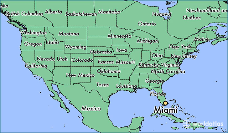 map showing the location of Miami
