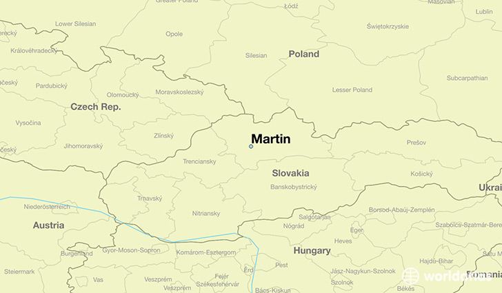 map showing the location of Martin