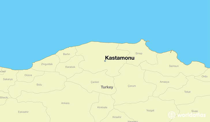 map showing the location of Kastamonu