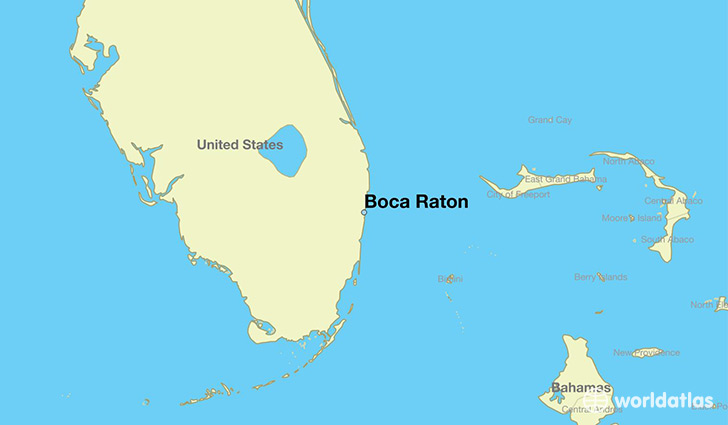 map showing the location of Boca Raton