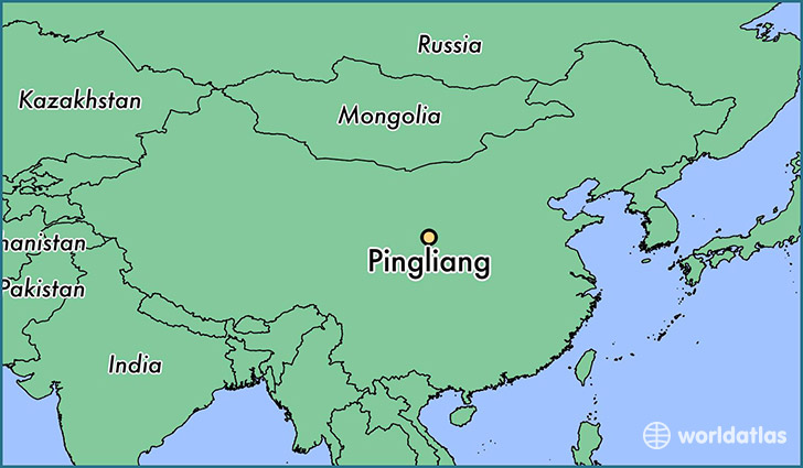 map showing the location of Pingliang