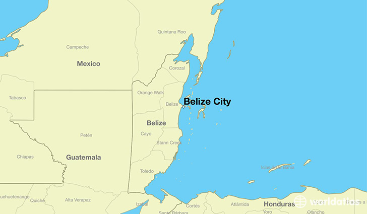map showing the location of Belize City