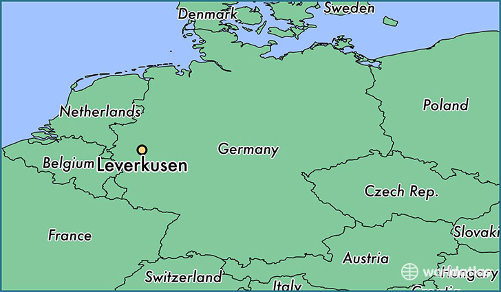 map showing the location of Leverkusen