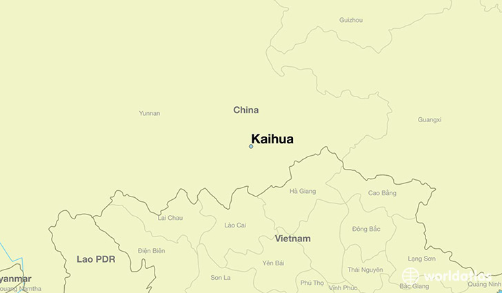 map showing the location of Kaihua